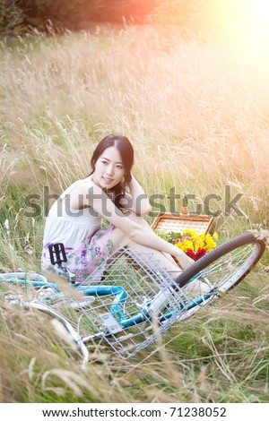 A portrait of a beautiful asian woman outdoor