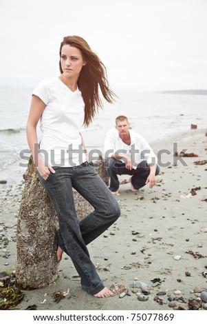A portrait of a beautiful Caucasian couple - stock photo