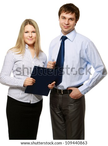 A portrait of a businesswoman and a businessman standing on white background