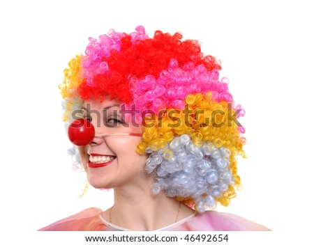 A portrait of a clown-girl in a wig