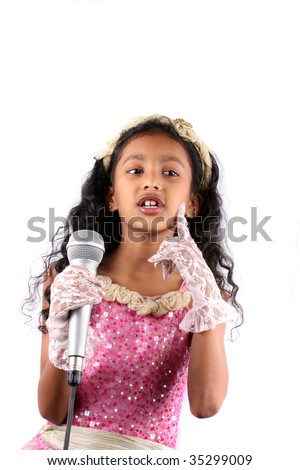 ... of a cute Indian girl in a singing performance, on white background