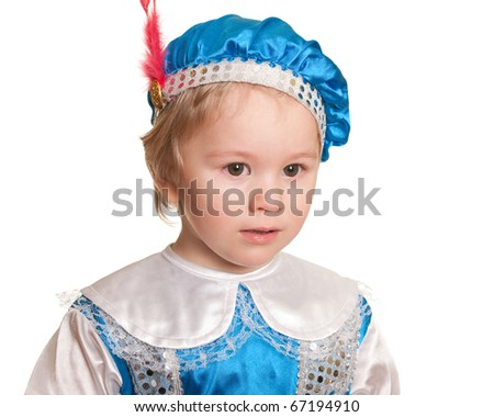 A portrait of a cute pretty kid dressed in a carnival suit of a prince; isolated on the white background