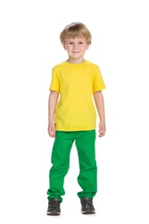 A portrait of a fashion little boy on the white background