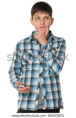 A portrait of a fashion pensive teen; isolated on the white background