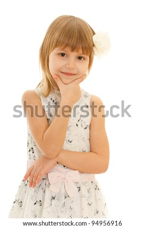 A portrait of a fashion smiling young girl; isolated on the white background