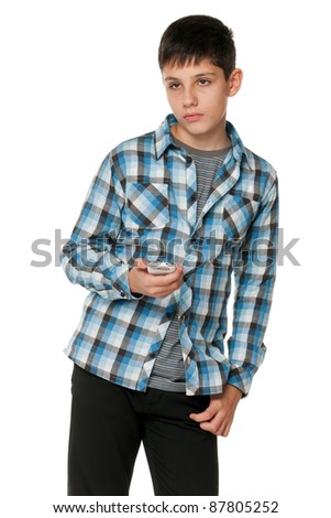 A portrait of a fashion thoughtful teen; isolated on the white background
