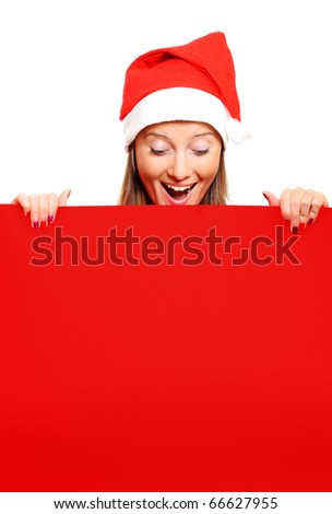 A portrait of a female Santa holding a red board, a lot of space for text