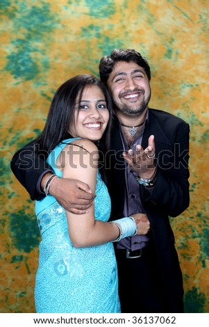 stock photo A portrait of a happy Indian wedding couple