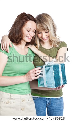 A portrait of a happy mother and daughter celebrating mother's day
