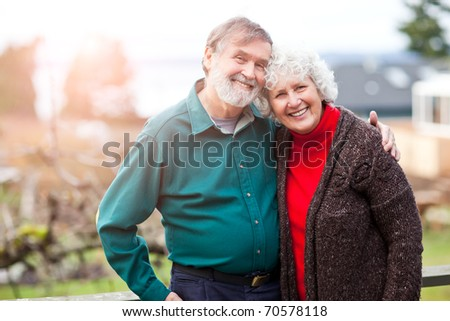 A portrait of a happy senior couple
