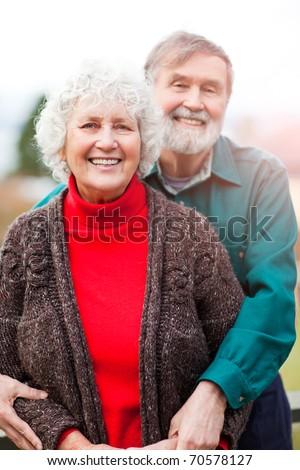 A portrait of a happy senior couple