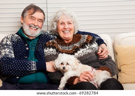 A portrait of a happy senior couple at home - stock photo