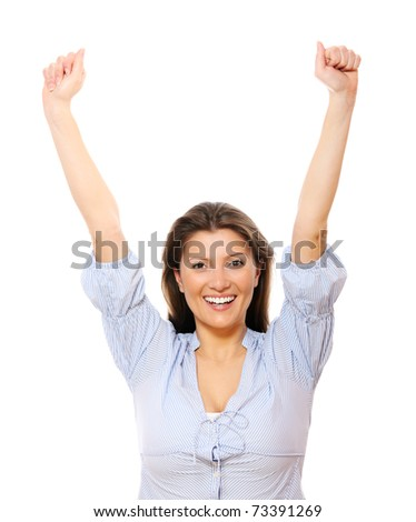 A portrait of a happy young woman with her hands up over white background