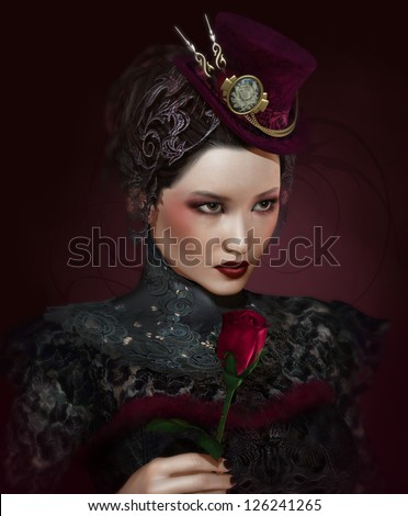 a portrait of a lady with a rose