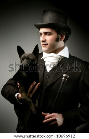 a portrait of a man with a dog