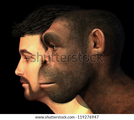 A portrait of a modern human and a Homo Erectus man side-by-side - 3D render with digital painting.
