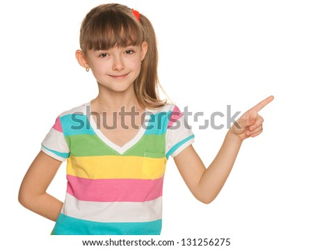 A portrait of a pretty girl in striped blouse makes a hand gesture