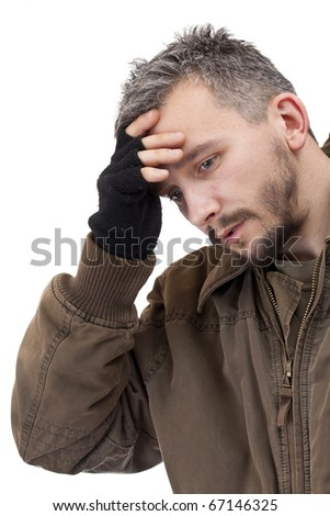 A portrait of a sad man. Isolated on white