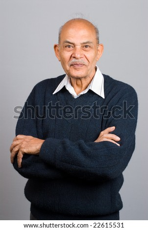 A portrait of a senior Asian Indian man