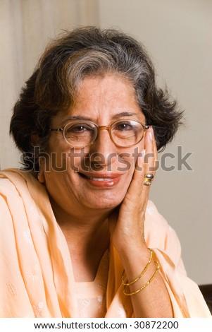A portrait of a senior East Indian woman