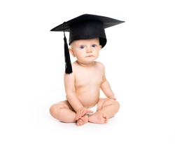 A Portrait of a sitting baby girl with a graduation cap