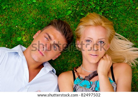 A portrait of a sweet couple in love. Photo from above. Horizontal.