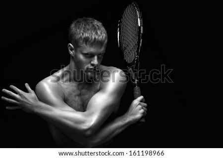 A portrait of a tennis player with a racket.