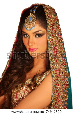 stock photo A portrait of a young arab woman in a wedding dress
