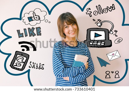 A portrait of a young asian woman with social media illustrator doodles - digital lifestyle concept - Shutterstock ID 733610401