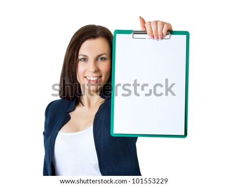 A portrait of a young business woman in an office with documents in her arms