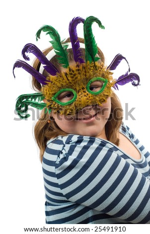 A portrait of a young girl wearing a feather mask, isolated against a white background