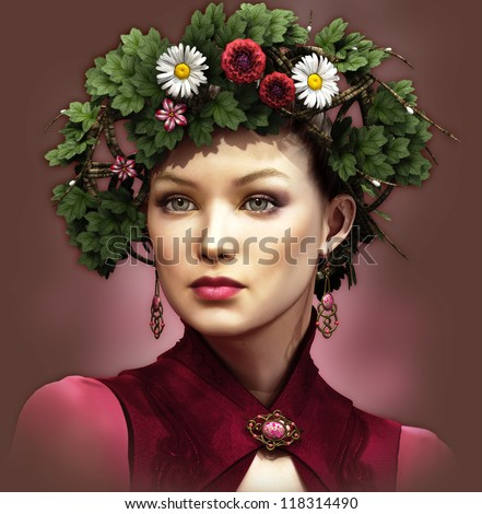 a portrait of a young lady with a wreath on her head - stock photo