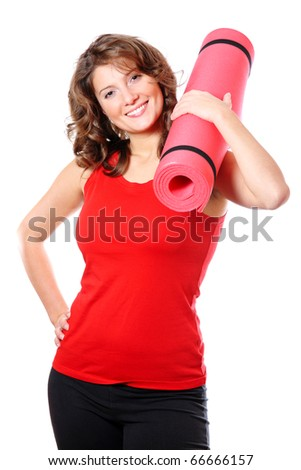 A portrait of a young pretty woman holding a red mat over white background