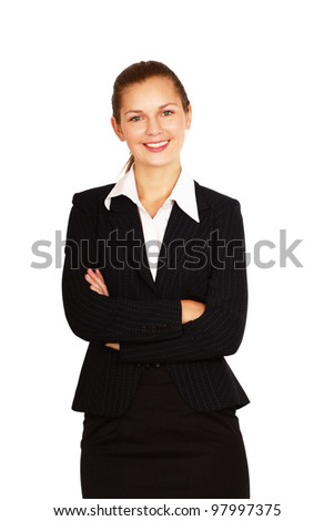 A portrait of a young woman in a white blouse, isolated on white background
