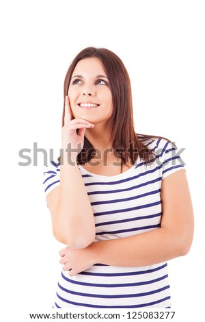 A portrait of a young woman trying to make a decision, isolated over white background