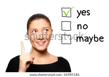 A portrait of a young woman voting for yes over white background