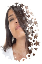 A portrait of an asian woman with long hair digitally manipulated in an artistic manner