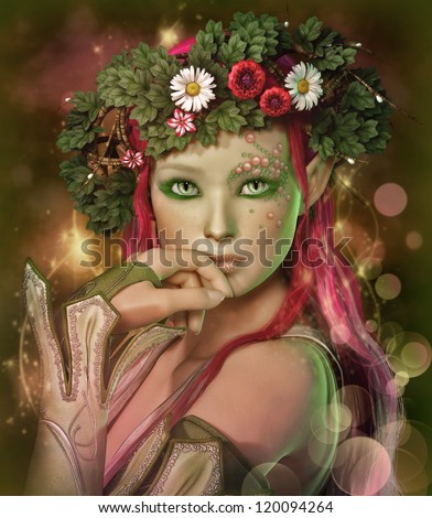 a portrait of an elven maid with a wreath on her head - stock photo