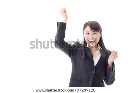 a portrait of asian businesswoman cheering isolated on white background