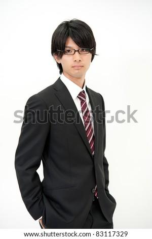 a portrait of asian businesswoman wearing eyeglasses
