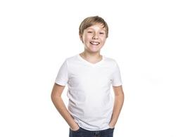 A portrait of child. funny little boy on studio white background