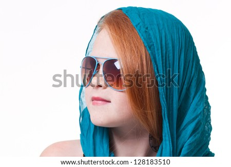 A portrait of  fashion little girl; isolated on the white background