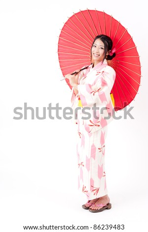 a portrait of japanese kimono woman with red traditional umbrella