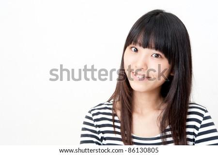 a portrait of pretty asian woman - stock photo