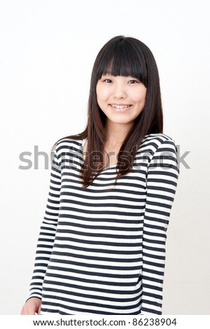a portrait of pretty asian woman isolated on white background
