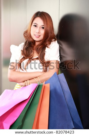 A portrait of shopping woman