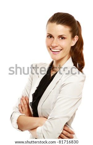 A portrait of smiling businesswoman, isolated on white