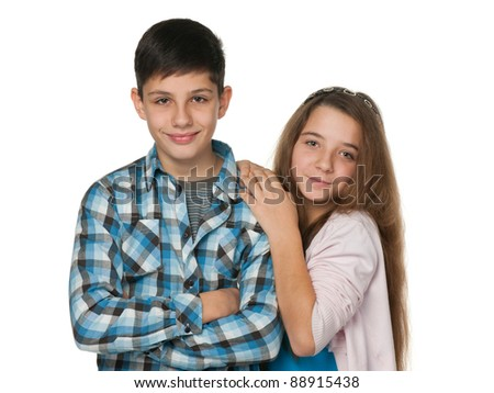 A portrait of smiling teenagers; isolated on the white background