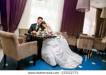 A portrait of the beautiful new bride and groom