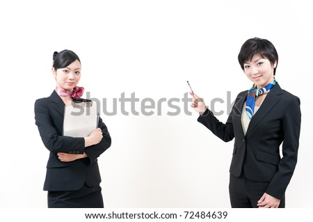 a portrait of two asian businesswomen isolated on white background